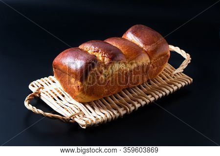 Food Baking Concept Fresh Baked Organic Homemade Soft Milk Loaf Bread In Loaf Pan On Wicker Bread Tr