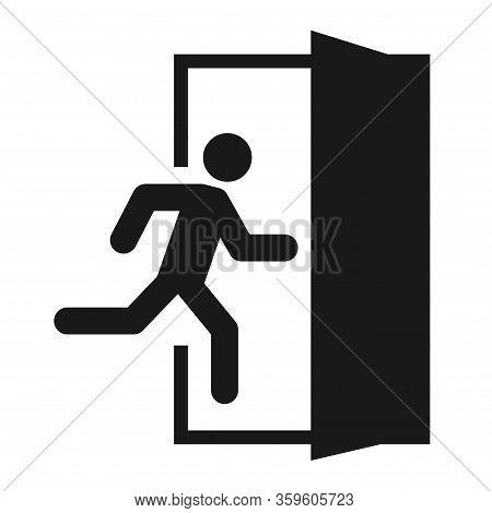 Running Man And Exit Door Sign. Vector Icon, Safety Symbol. Escape Help Evacuation