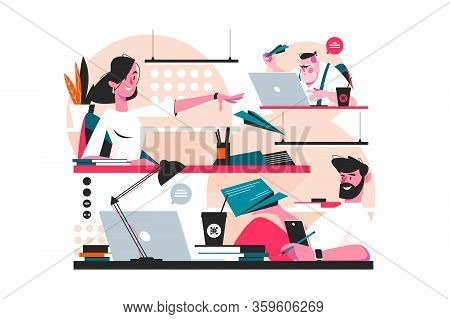 Messenger Service In Office Vector Illustration. Woman