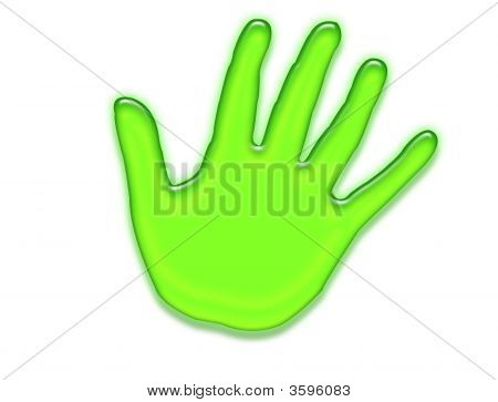 Green Hand Over White