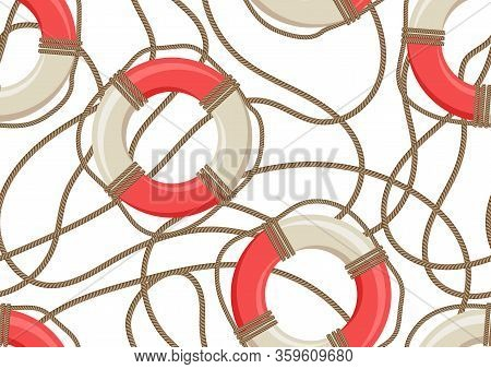 Nautical Seamless Pattern With Ship Life Buoys And Ropes. Marine Decorative Background.