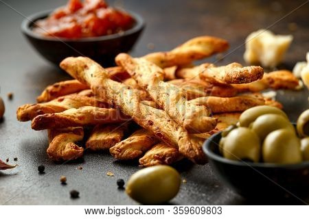 Cheese Twist Sticks With Garlic, Parmesan And Chutney. Party Food Snacks