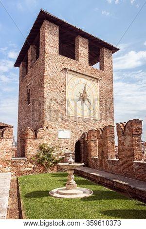 Verona, Italy, September 26, 2015 : Clock Tower In The Castelvecchio Castello Scaligero Fortress In