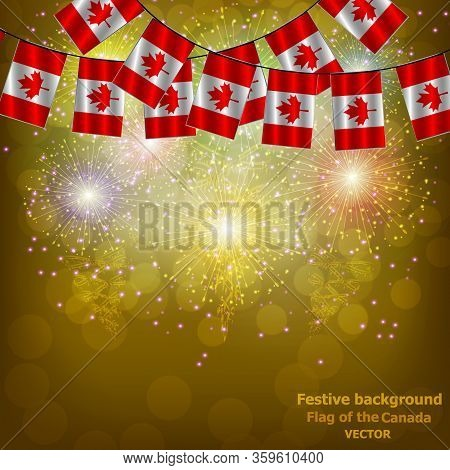 Bright Firework With Flags Canada For Holidays. Set For Holidays. Background With Flag Of Canada . H