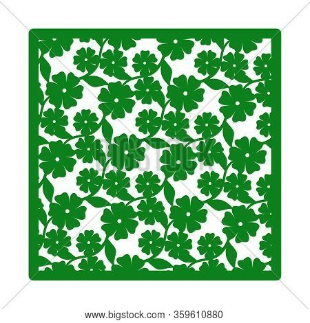 Vector Square Decorative Panel With Flowers And Leaves. Design Element, Sample Panel For Plotter Cut
