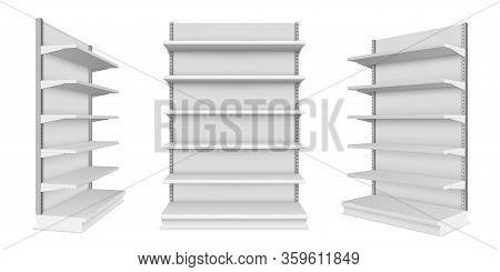 Supermarket Showcase With Shelves. Mockup Of Market Or Mall Counter For Retail. Shop Product Display