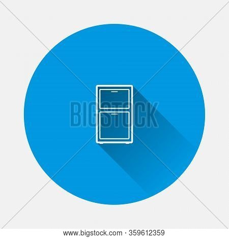 Vector Icon Furniture Dresser Icon On Blue Background. Flat Image With Long Shadow.