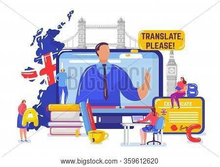 Learning English Online Vector Illustration. Cartoon Flat Tiny Student People Learn English On Dista