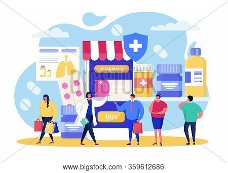 Buy In Online Pharmacy Vector Illustration. Cartoon Flat Tiny People Buying Pills In Drugstore, Usin