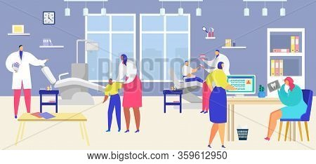 Patient Visit Dentist Vector Illustration. Cartoon Flat People Visiting Dental Clinic, Man Woman Cha