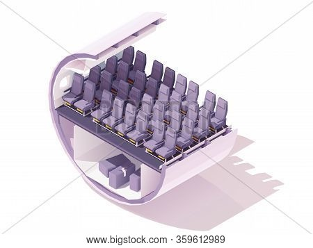 Vector Isometric Economy Class Airplane Seats. Passenger Airplane Cabin Or Salon Cross Section. Econ