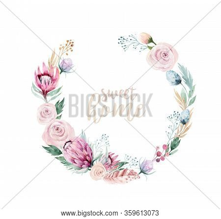 Vector Watercolor Flowers Wreath Frame. Psring Decoration With Protea Ans Cotton. Wedding Decoration