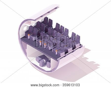 Vector Isometric Premium Economy Class Airplane Seats. Passenger Airplane Cabin Or Salon Cross Secti