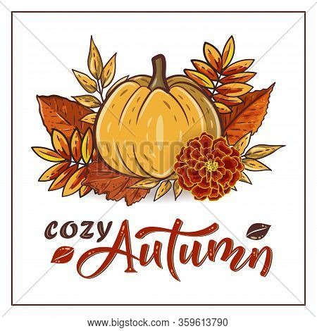 Cozy Autumn Hand Drawn Lettering Text With Autumn Leaves And Pumpkins. Rowan And Oak Leaves With Gou