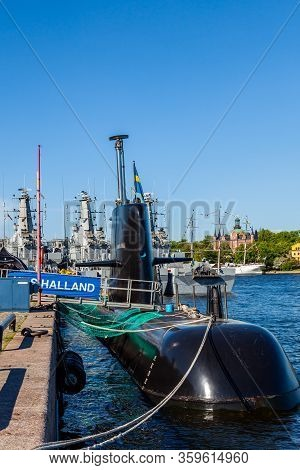 Stockholm, Sweden - June 7, 2013: Closeup View Of A Swedish Submarine And Warships In The Background