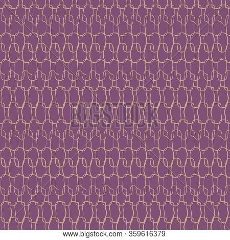 Crotchet Stitches Texture Seamless Vector Purple Pattern. Simple Surface Print Design Texture. For F