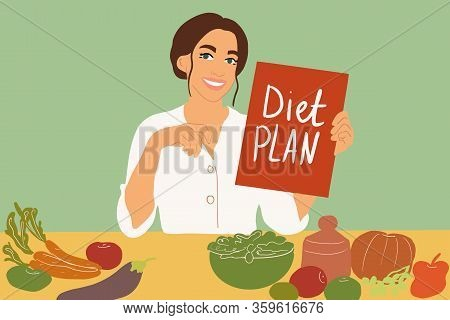 Female Nutritionist Sitting With A Diet Plan At The Table Full Of Healthy Food Ingredients On The Gr