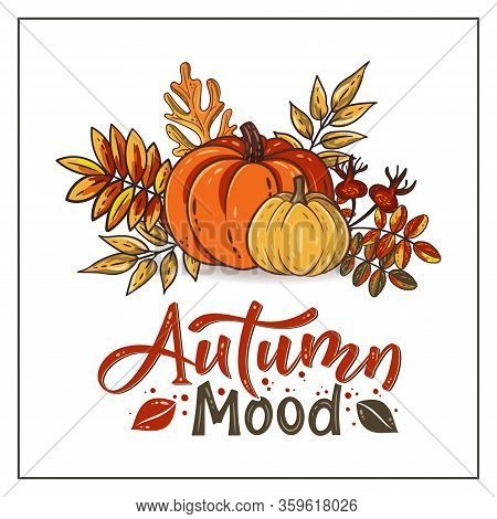 Autumn Mood Hand Drawn Lettering Text With Autumn Leaves And Pumpkins. Rowan And Oak Leaves With Gou