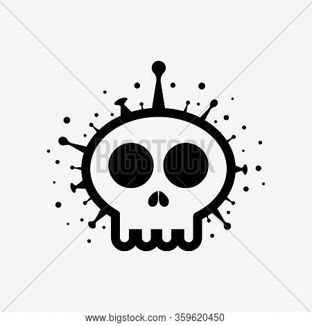 Skull Shape Covid-19 Coronavirus. Covid 19-ncp Vector Illustration Deadly Virus Coronavirus Sars-cov