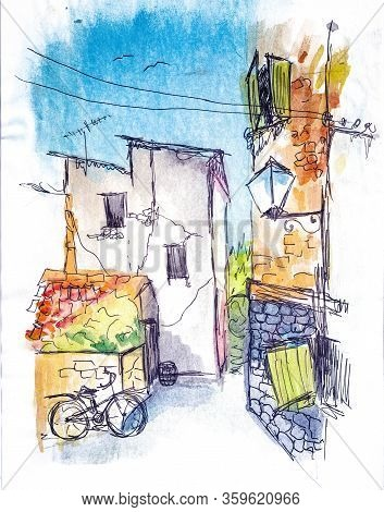 The Street Of The Old City, Windows With Shutters, An Old Lamp, A Bicycle Stands Against The Wall, A