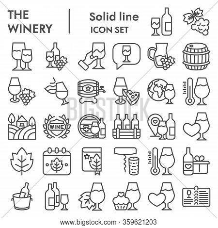 Winery Line Icon Set. Wine Signs Collection Or Vector Sketches. Valuable Alcohol, Precious Drink Web