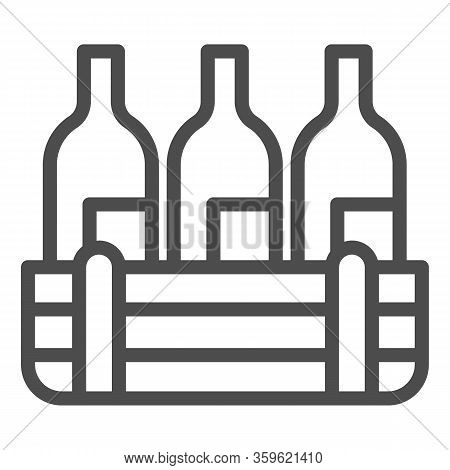 Box Of Wine Bottles Line Icon. Three Alcohol Drink Bottle In Wooden Crate Outline Style Pictogram On