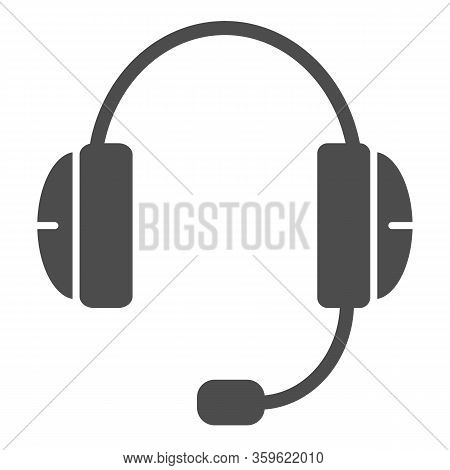 Headphone Solid Icon. Support, Audio Headset With Microphone Symbol, Glyph Style Pictogram On White