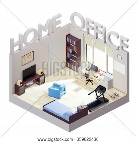 Home Office Concept Izometric Illustration. Living Room Divided Into Bedroom And Office. Freelancer