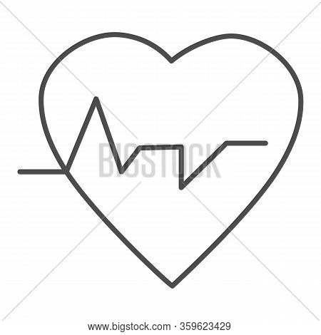 Heartbeat Thin Line Icon. Heart With Pulse, Electrocardiogram Symbol, Outline Style Pictogram On Whi