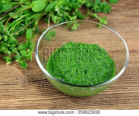 Mixed And Fresh Chickweed, Stellaria Media, Wild Herb. Common Chickweed  In A Bowl Ready For Eating
