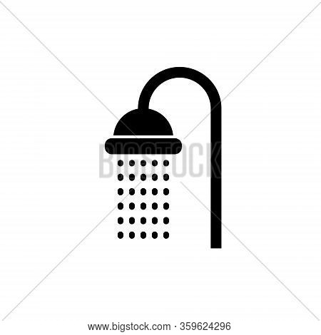 Shower Vector Head Icon. Water Shower Symbol Bathroom Sign Pictogram