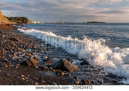 Scenic Landscape Of Black Sea Coast By Bolshoy Utrish Village, Anapa, Russia. Wave Splashing On Pebb