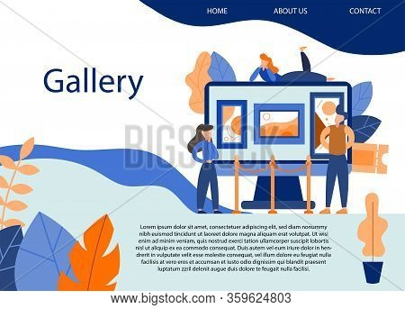 Museum Exposition. Art Gallery With Modern Artwork. Trendy Flat Banner, Poster. Vector Illustration