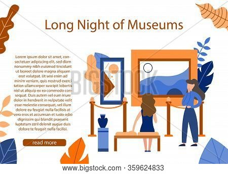 Museum Exposition. Art Gallery With Modern Artwork. Trendy Flat Banner, Poster. Website Homepage Hea