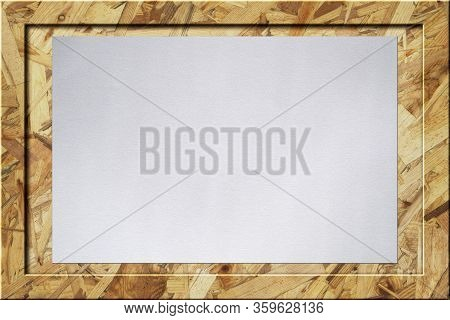 Wood Chips Osb Wooden Notice Board Bulletin Billboard Darken With White Paper Texture