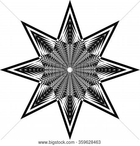 Abstract Arabesque Octogon Developement Stellar Game Perspective Design Black On Transparent Seamles
