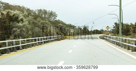 The Robert Moses Causeway Road Exiting The Great South Bay Bridge Heading South To Fire Island Natio