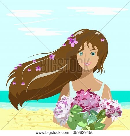 Girl With Flowers On The Beach By The Sea. She Stands And Smiles, Because She Was Given A Beautiful