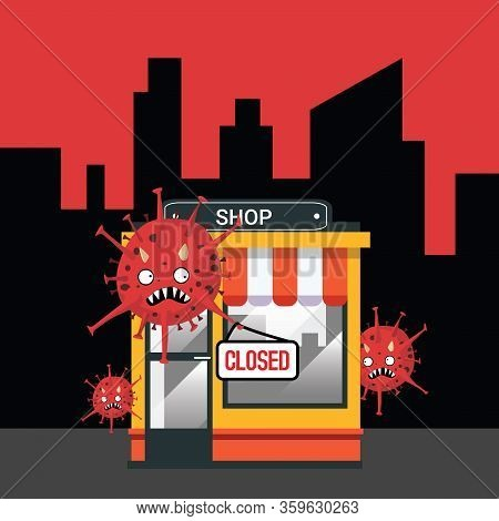 Shop Closed Or Bankrupt. Empty Storefront And Coronavirus Hanging Closed Sign Plate On Front, Store