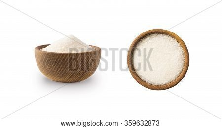 Heap Of Granulated Sugar Isolated On White Background. Top View. Heap Of Sugar On White Background.