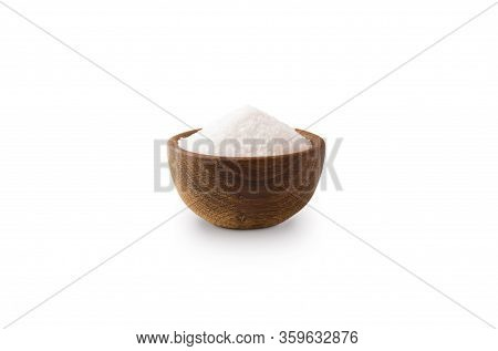 Heap Of Sea Salt Isolated On White Background. Heap Of Sea Salt On White Background. Wooden Bowl Of