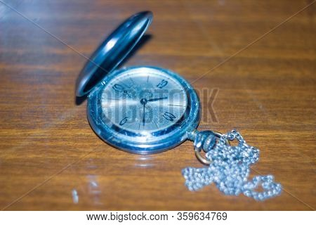 Old Retro Watch On The Table,  An Old Silver Handy Watch, Antique Pocket Watch, Old Silver Pocket Wa