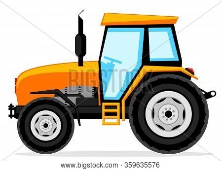 Tractor Close-up On A White. Agricultural Machinery