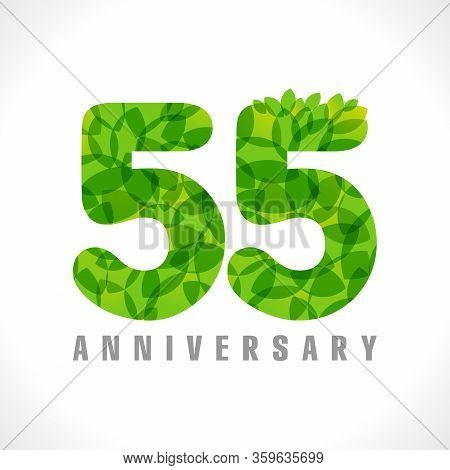 55 Th Anniversary Numbers. 55 Years Old Logotype. Age Congrats, Congratulation Concept With Leaves.