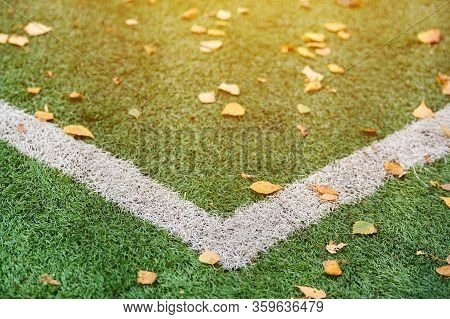 Artificial Grass, Sports Field Cover With Marking. Artificial Turf Used In Different Sports: Footbal