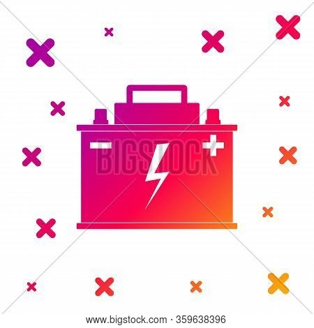 Color Car Battery Icon Isolated On White Background. Accumulator Battery Energy Power And Electricit
