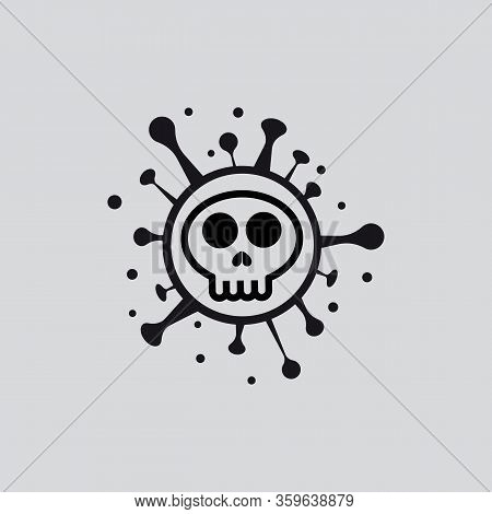Vector Illustration Bacterium Virus In The Shape Of A Skull Shape Covid-19 Coronavirus. Covid 19-ncp