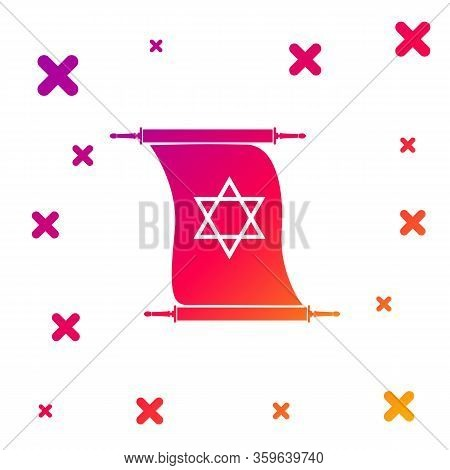 Color Torah Scroll Icon On White Background. Jewish Torah In Expanded Form. Torah Book Sign. Star Of