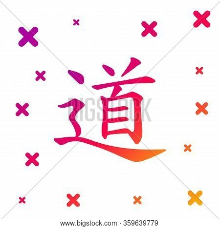 Color Chinese Calligraphy, Translation Dao, Tao, Taoism Icon Isolated On White Background. Gradient