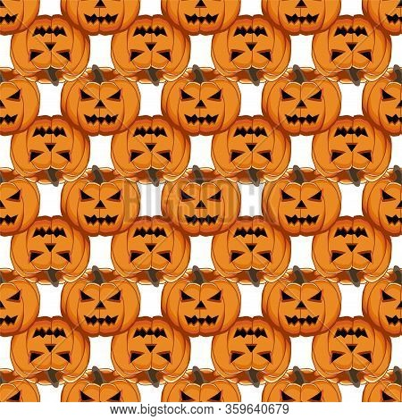 Illustration On Theme Big Colored Pattern Halloween, Seamless Orange Pumpkin. Seamless Pattern Consi